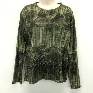 Chicos 3 Top Shirt Blouse Olive Asian Design XL